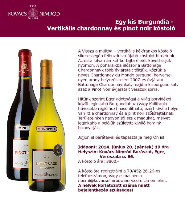 KNW Chardonnay Pinot Noir Kóstoló